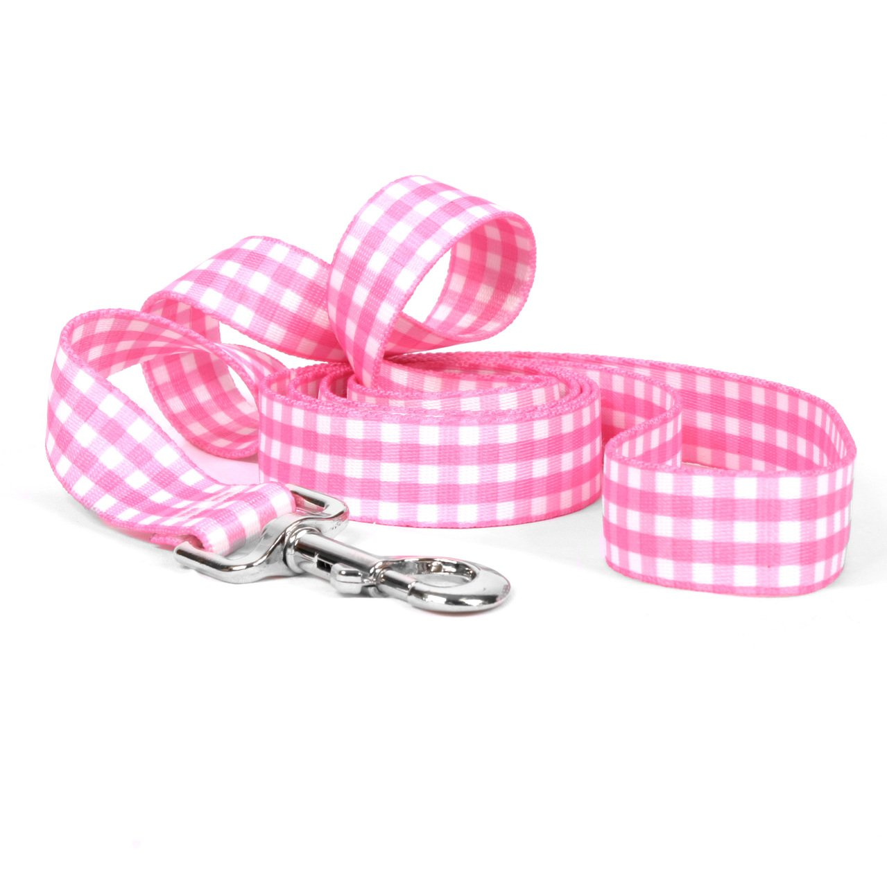 Yellow Dog Design Gingham Pink Dog Leash 1'' Wide and 5' (60'') Long, Large