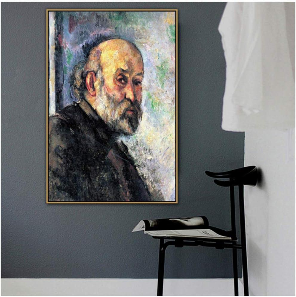 Paul Cézanne Antiguo y famoso maestro artista Los autorretratos de Cézanne Lienzo Pintura Cartel e impresión para decoración de la habitación Arte de la pared -60x90cm Sin marco