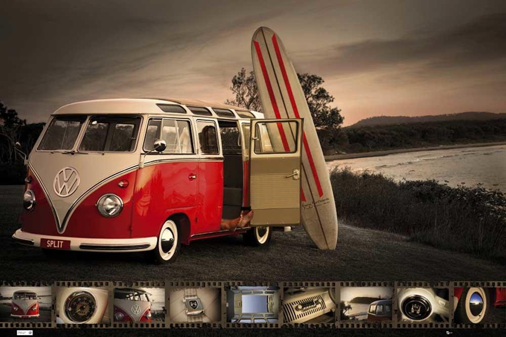 Empire 405326 - Póster con diseño de furgoneta de Volkswagen y tabla de surf (91,5 x 61 cm): Amazon.es: Hogar