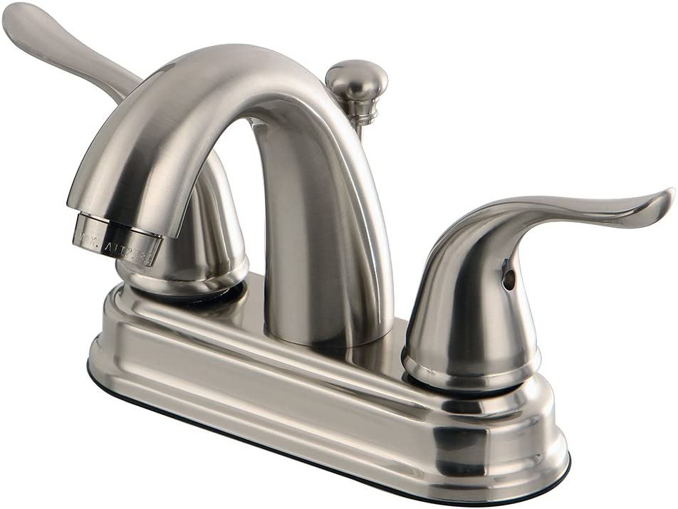 Kingston Brass KB5618YL Yosemite 4 Inch Centerset Two Handle Lavatory Faucet, 3-5 8 inch in Spout Reach, Brushed Nickel