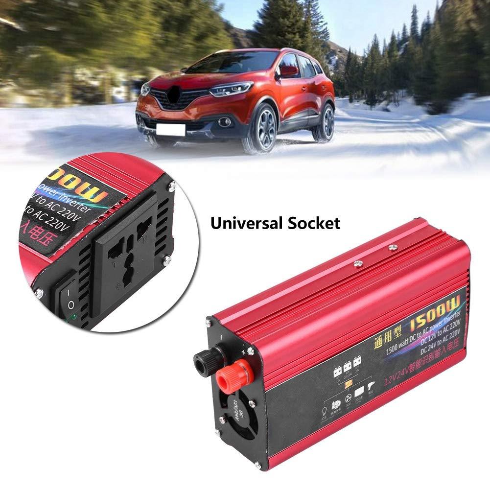 1500W Car Inverter Car Power Inverter Charger Converter Adapter USB Plug Port Modified Sine Wave DC 12V 24V To AC 220V