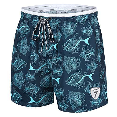(LANYI Mens Swim Trunks Quick Dry Board Beach Shorts Surfing Swimming Shorts Swimwear Mesh Lining Bathing Suits with Pockets (Blue Fish Bone, L))