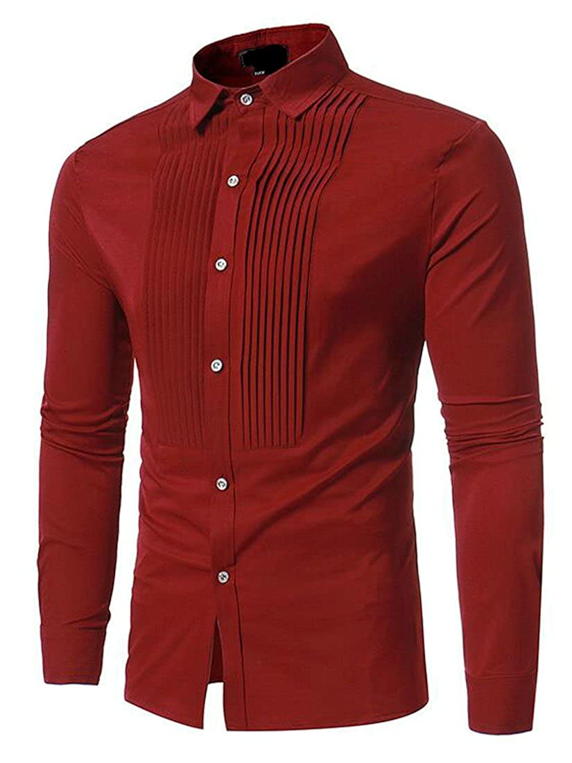 YYear Mens Casual Solid Pleated Long Sleeve Business Button Down Shirts