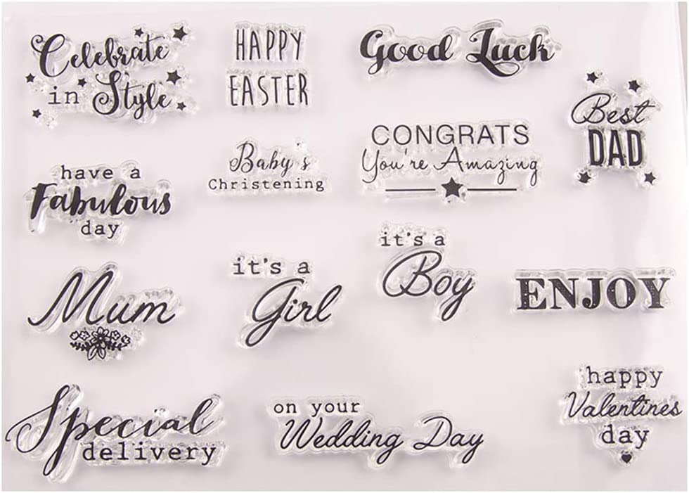 KANGneei Clear Stamp Happy Easter Good Luck Silicone Clear Seal Stamp DIY Scrapbooking Embossing Photo Album Decorative Paper Card Craft Art Handmade Gift