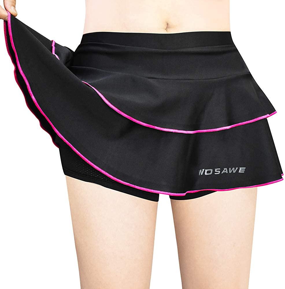 beroy Women Quick Dry and Breathable Cycling Skirt Shorts,Bike Skorts Pantskirt with 3D Padded
