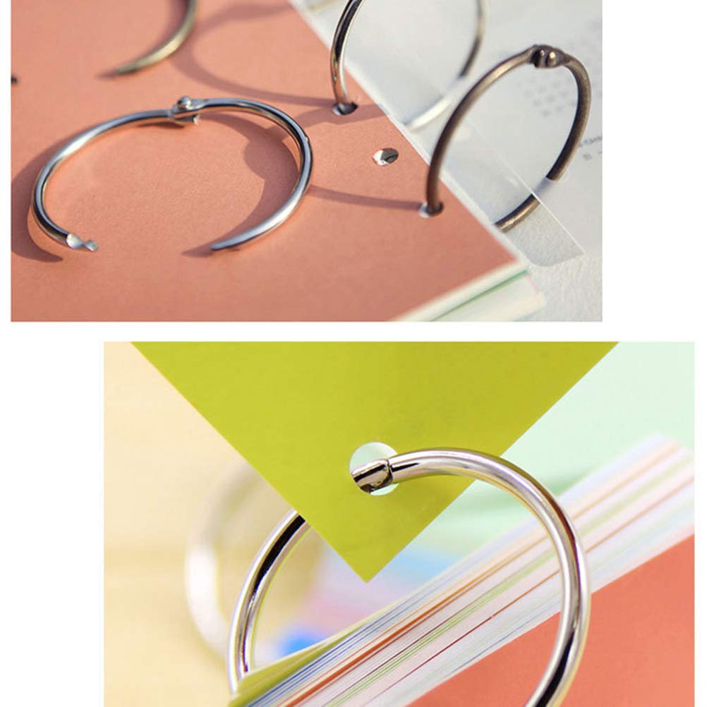 Argent STOBOK 100pcs reliure /à feuilles mobiles anneaux en m/étal livre anneaux 20mm