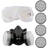 A-SZCXTOP Respirador Doble Cartucho Anti - Polvo Mascara con Gafas y 4 Cajas de