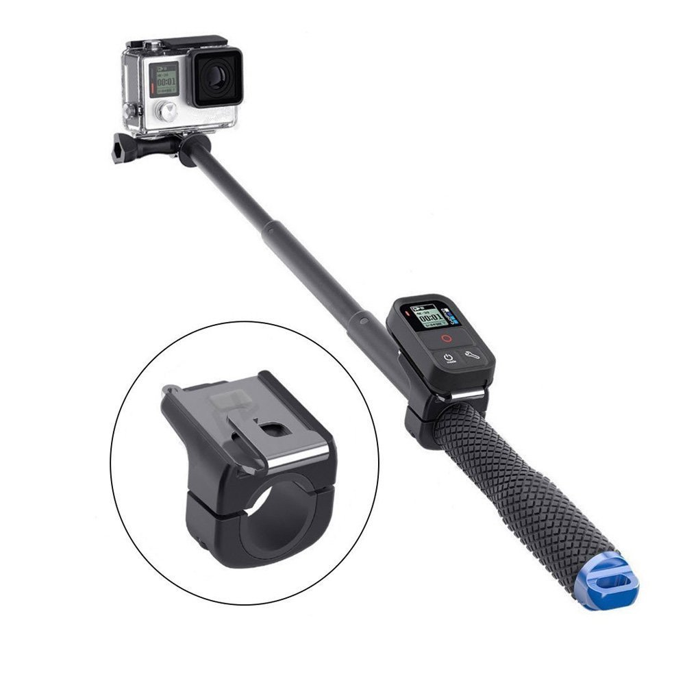 LenYue Tube Holder Mount Remote Clip Monopod Remoter Buckle for GoPro 5 6 Cam Selfie Stick Accessory