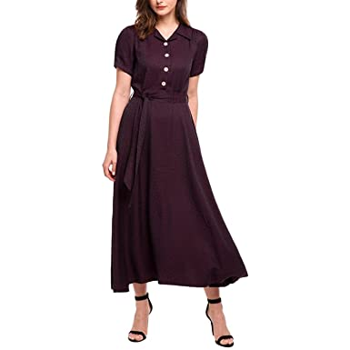 Penin Women Vintage Long Dress Summer Casual Print Style Puff Sleeve Belt High Waist Maxi Swing