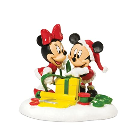 Department 56 Disney Village Mickey and Minnie Wrapping Gifts Accessory Figurine