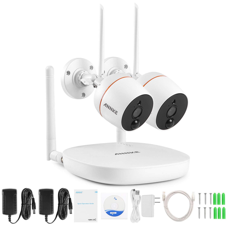 ANNKE Mini Kit sistema de vigilancia wifi 1080P FHD 4CH NVR con 2 * IP cámaras de seguridad 2MP Impermeable audio bidireccional, detección de movimiento PIR, soporte 128G tarjeta TF(no incluido) product image
