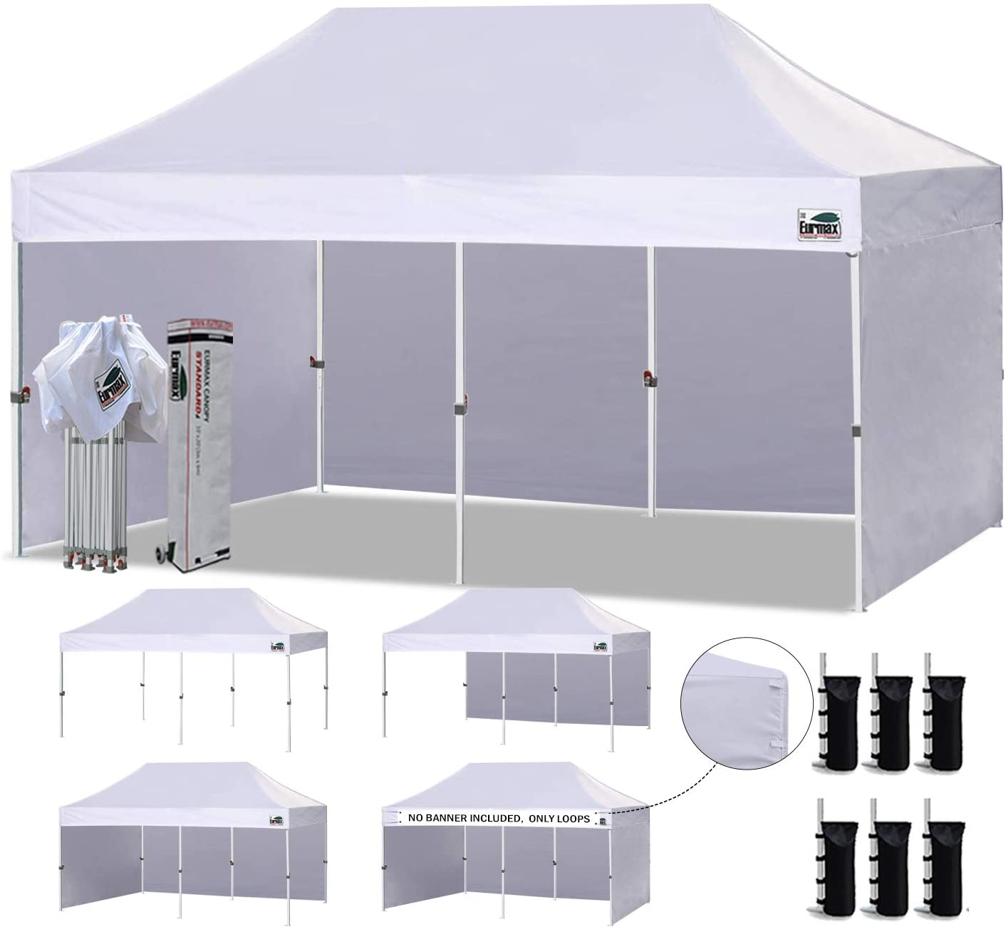 Eurmax 10'x20' Ez Pop up Canopy Tent Commercial Instant Gazebo with 4 Removable Zipper End Side Walls and Roller Bag, Bonus 6 SandBags (White)