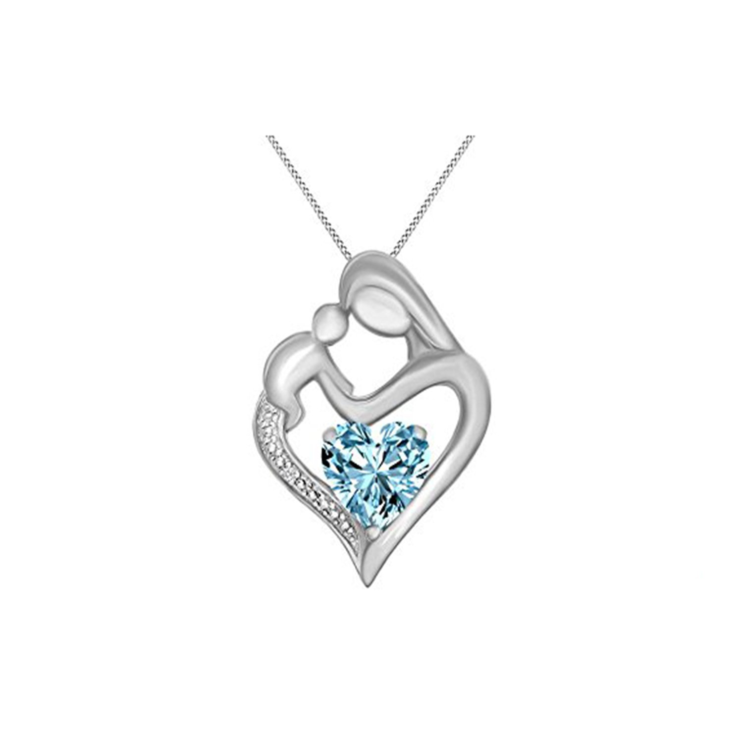 Ashley Jewels Simulated Diamond Studded Elegant Fashion Charm Heart MOM Pendant Necklace in 14K White Gold Plated With Box Chain