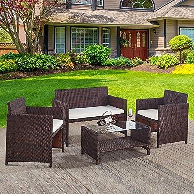 Omiyo Muebles de jardín de ratán marrón, 3 sillas y Juego de Mesa, para jardín, Patio, Invernadero.: Amazon.es: Jardín