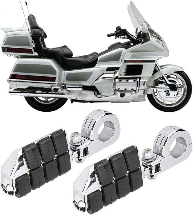 Yctze 2 Stück Motorrad Fußrasten Chrom Motorrad Fußrasten Mit Halterung Für Gl1500 Gl1800 Auto