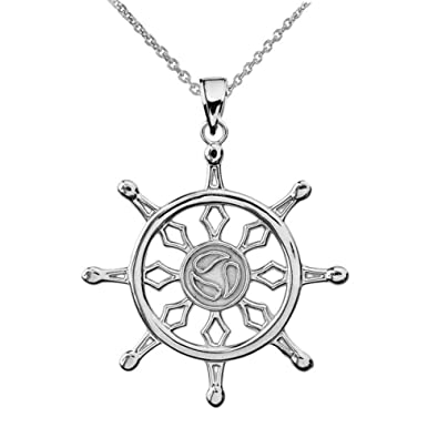 Amazon fine sterling silver wheel of the buddhist dharma fine sterling silver wheel of the buddhist dharma pendant necklace 16quot aloadofball Gallery