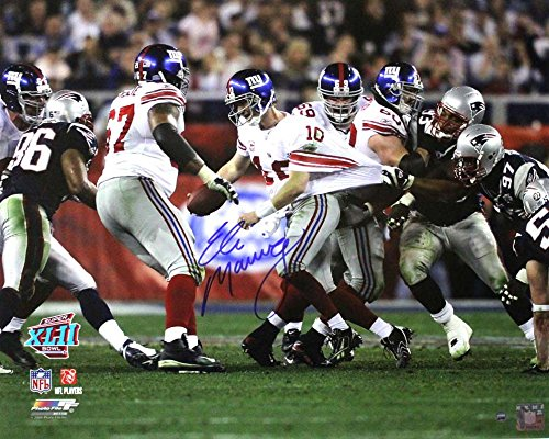Eli Manning Autographed/Signed New York Giants Iconic Super Bowl XVII 16x20 NFL Action Photo - Steiner