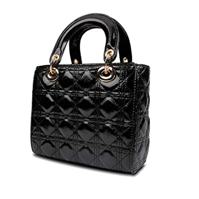 87d2b8f355 Amazon.com: Olyphy Designer Patent Leather Top Handle Handbag for Women,  Fashion PU Small Shoulder Handbag, Classic Crossbody Purse (Black): Shoes