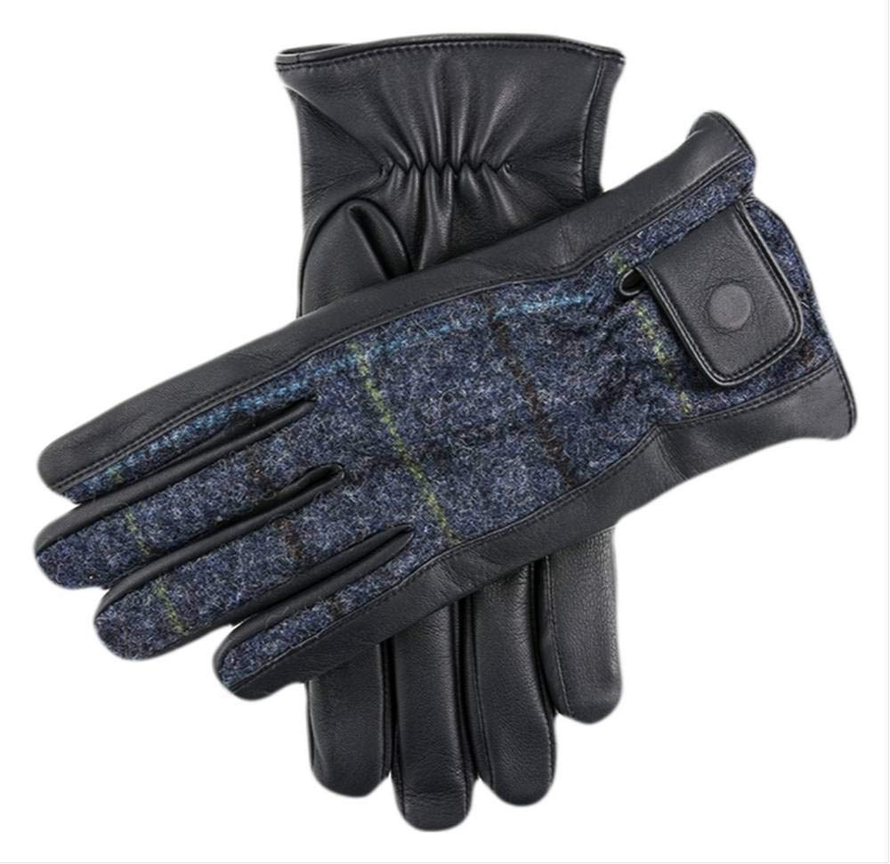 Dents Mens Knowsley Abraham Moon Tweed and Leather Gloves - Navy/Blue/Black - Large