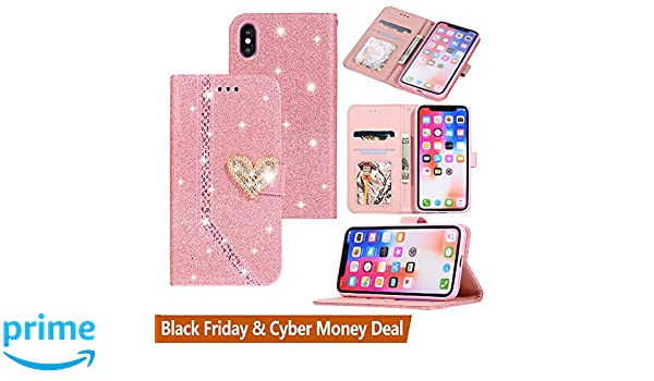 separation shoes 59df3 d0486 Black Friday Cyber Monday Deals-Apple iPhone Xs Max Glitter Wallet  Case-Slim Flip Phone Case Card Holder Pocket Purse [Crystal Heart Magnetic  Closure] ...