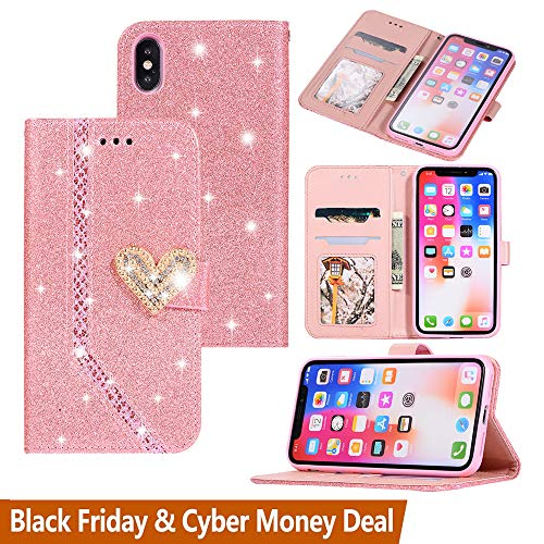 Black Friday Cyber Monday Deals-Apple iPhone Xs Max Glitter Wallet Case-Slim Flip Phone Case Card Holder Pocket Purse [Crystal Heart Magnetic Closure] Shockproof Back Cover (iPhone Xs Max, Pink)