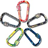 DYZD Gear Aluminum Alloy D Shape Buckles D Ring Keychains Screw Locking Spring Clip Hook Keyring Clip Hook