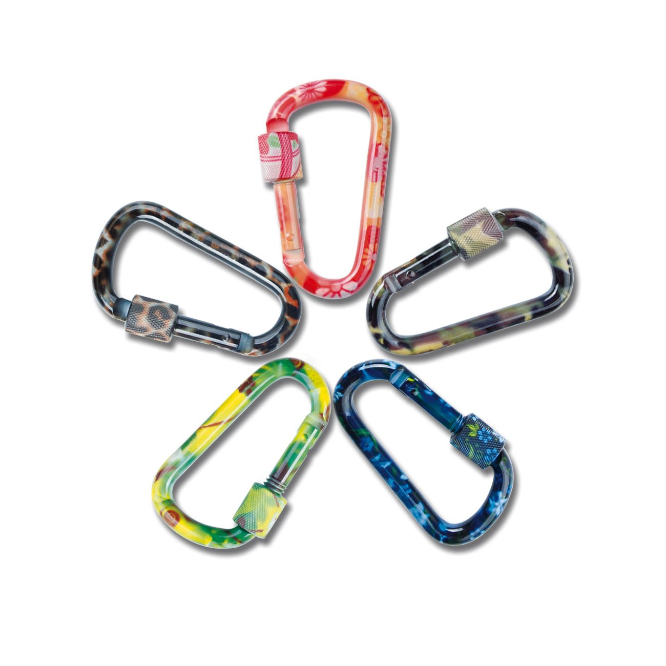 Water Bottle Fishing Used for Camping D Shape Buckle Pack Light Weight Spring Loaded Eastern Horses 5PCS 3 inch Carabiner Keychain Aluminum Random Multiple Color Traveling Hiking Badge
