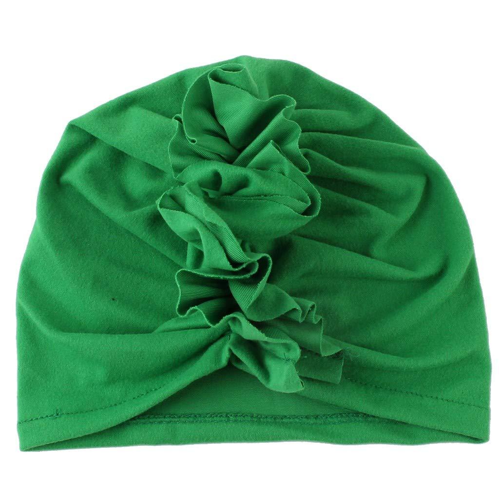 Girls Boys Soft Coton Head Wrap Hat Cute Fashion Ruched Hats Green