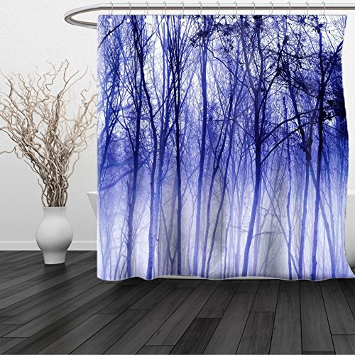 HAIXIA Shower Curtain Woodland Foggy Misty Trees in A Winter Woodland Landscape Scenery Modern Decoration Purple Black (Bronze Addison Button)