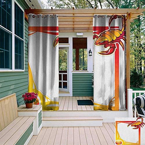 - leinuoyi Zodiac Scorpio, Outdoor Curtain Panels Set of 2, The Eighth Sign from The Series of Zodiac Framework Design, for Patio Waterproof W96 x L96 Inch Vermilion Orange Yellow
