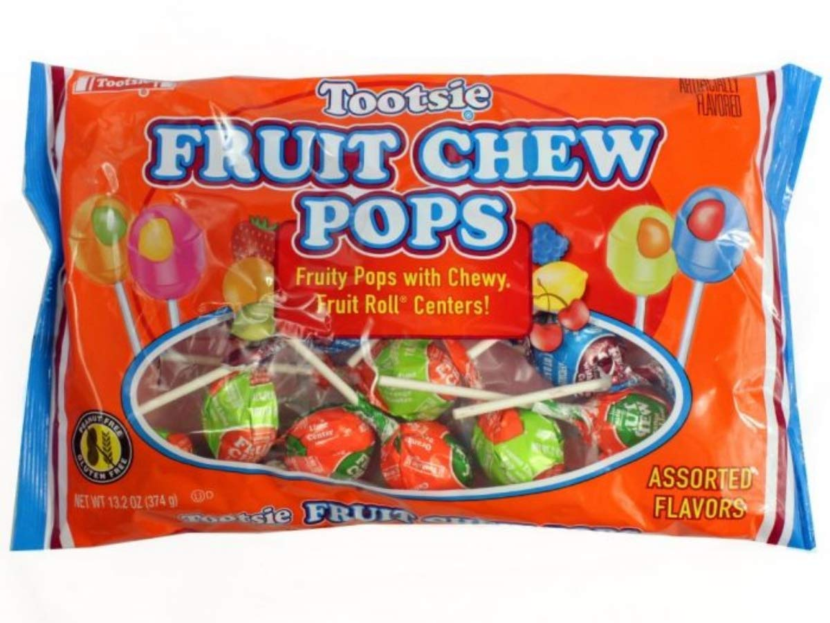 Tootsie Fruit Chew Pop with Chewy Center Lollipop Candy, 10 oz by Tootsie
