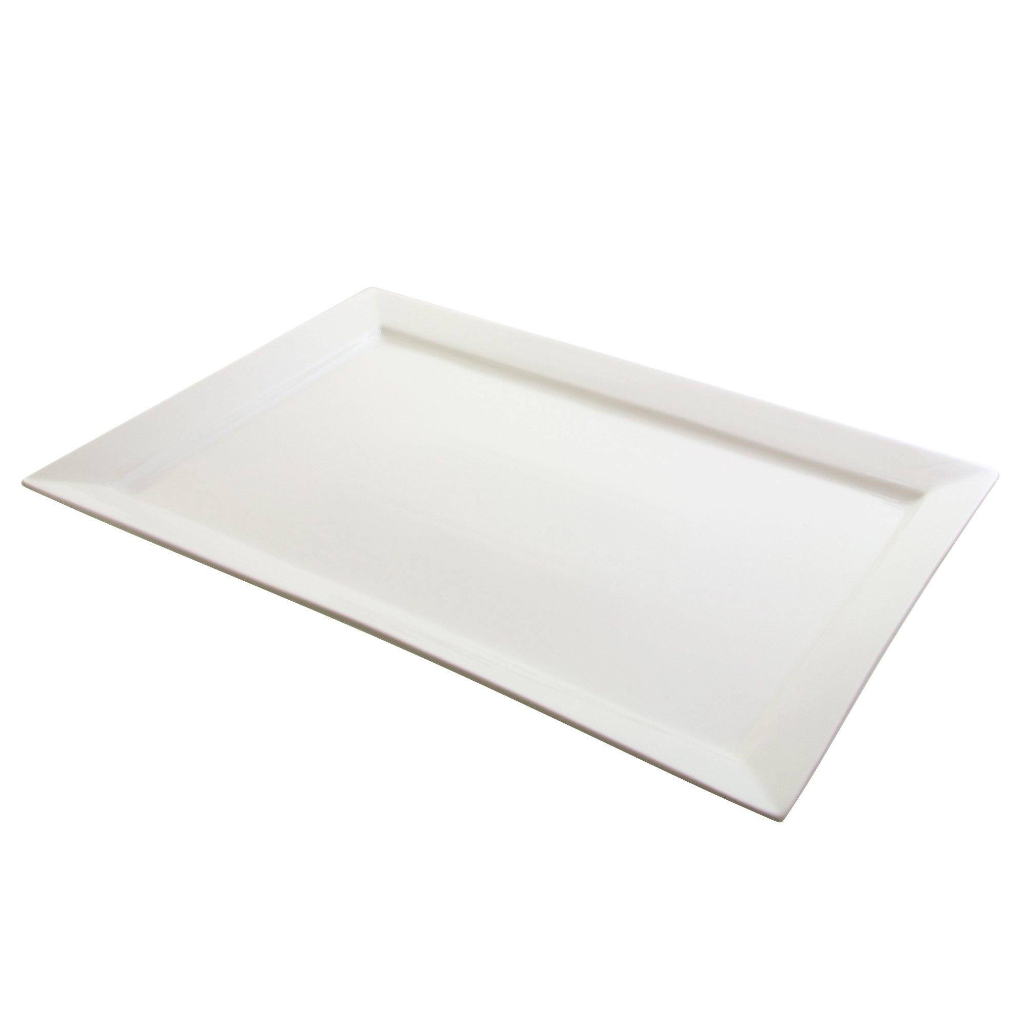 10 Strawberry Street Whittier 21.75'' x 14.75'' Rectangular Platter, White
