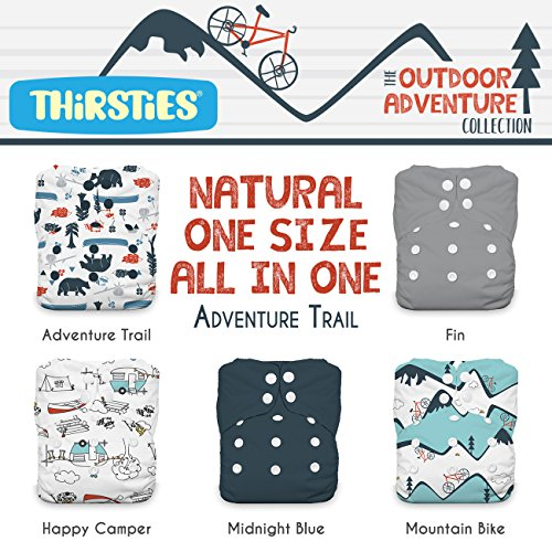 - Thirsties Package, Snap Natural One Size All in One, Outdoor Adventure Collection Adventure Trail