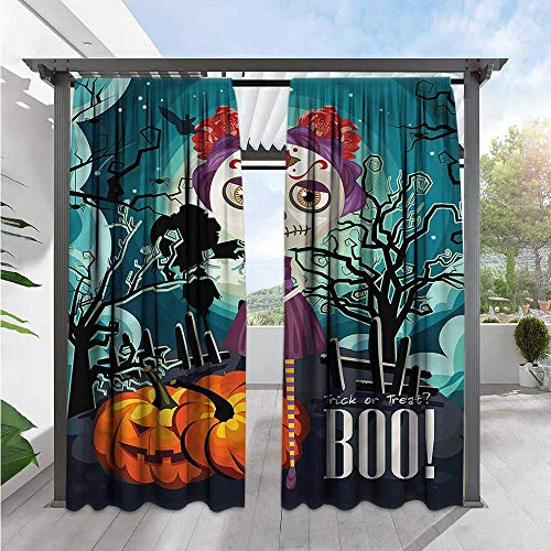 Marilds Halloween Simple Curtain Girl Sugar Skull Makeup Outdoor Privacy Porch Curtains 84