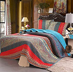 Exclusivo Mezcla 100% Cotton 3-Piece Boho Striped Quilt Set- Full/Queen Size