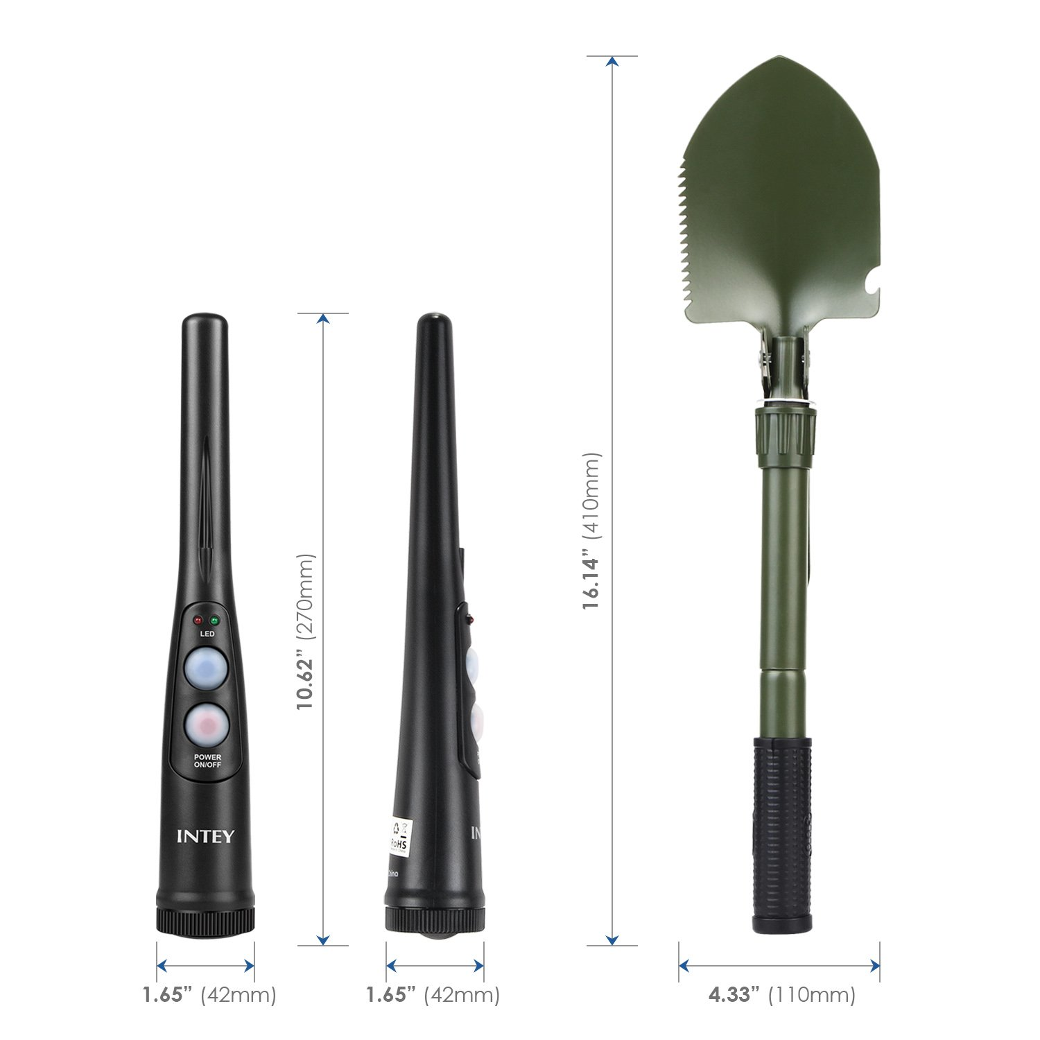intey Handheld Manejable Pro Pointer Pinpointer Detector de metales resistente al agua IP65 con una pala plegable y bolsa: Amazon.es: Bricolaje y ...