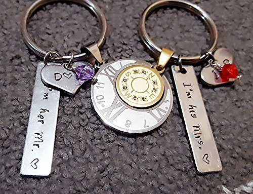 Personalized Couple Key Chain Set with Swarovski Birthstone, Valentines Day Gift, Couple Love Necklace, Lover's Key Chain Set, Sun & Moon Set (Key Necklace Love)