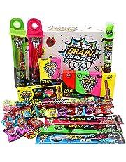 Brain Blasterz Super Sour Sweets Gift Box - Hard Zure Snoep, Zure Gum Stick, Spray Candy, Brain Breakerz | Appel, Aardbei, Cola & Meer | Halloween Sweets Box