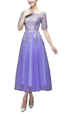 ef0b79c0bf7a Fanhao Women's Embroidery Lace Half Sleeves Tea Length Long Evening Gown  Prom Dress,Lavender,
