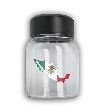 Bapala bandera de México mapa moda impresión reutilizable cilíndrico corto portátil Premium cristal botella de agua