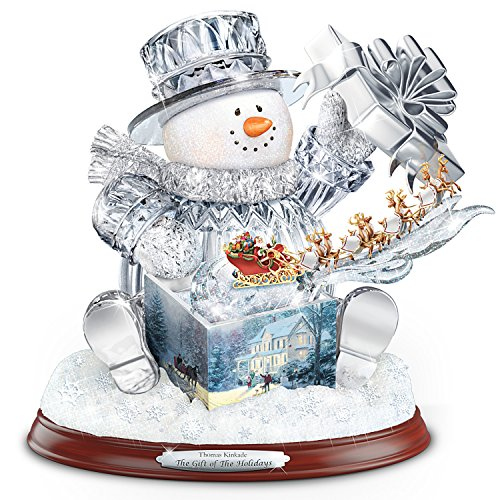 Thomas Kinkade The Gift Of The Holidays Crystal Snowman Sculpture With Lights And Music by The Bradford Exchange