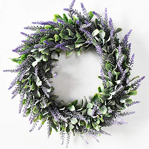 TRvancat Artificial Greenery Lavender Wreath 18inch for Front Door Wall Home Decor (Lanvender)