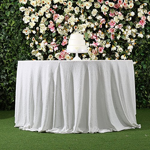"3e Home 50"" Round Sequin TableCloth for Wedding Party Cake Table, White"