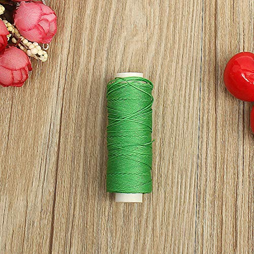 0.45mm 50M Faux Leather Sewing Waxed Thread Cord DIY Hand Stitching Awl Craft (Colour - Grass Green)