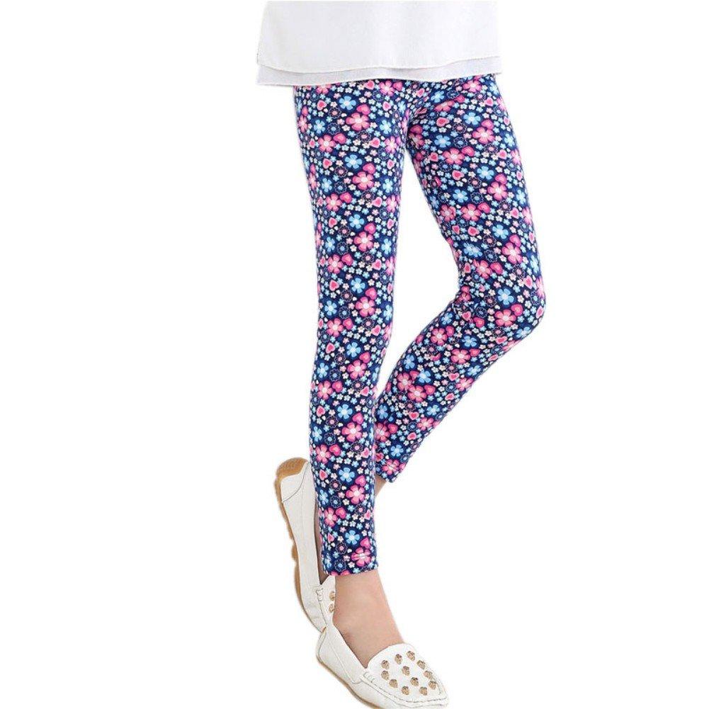Loveble Leggings elasticizzati a fantasia floreale da ragazza, Collant per bambina