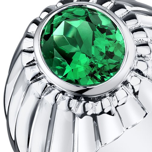 Mens Simulated Emerald Bezel Ring Sterling Silver 3.75 Carats Size 11 by Peora (Image #2)
