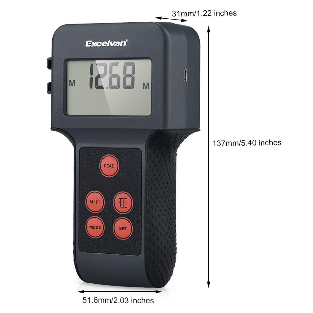 Excelvan 5 en 1 multifunción detector gran pantalla LCD Ultrasonic - Telémetro con puntero láser humedad Dc voltímetro metales detector AC Live Wires: ...