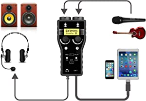 Lightning Microphone Preamp Compatible with iPhone 11 X 8 7 6 Vlog, Saramonic 2-Channel Lightning Mic XLR & 6.3mm Guitar Interface for iPad iPod, iOS Smartphone Tablet YouTube Video