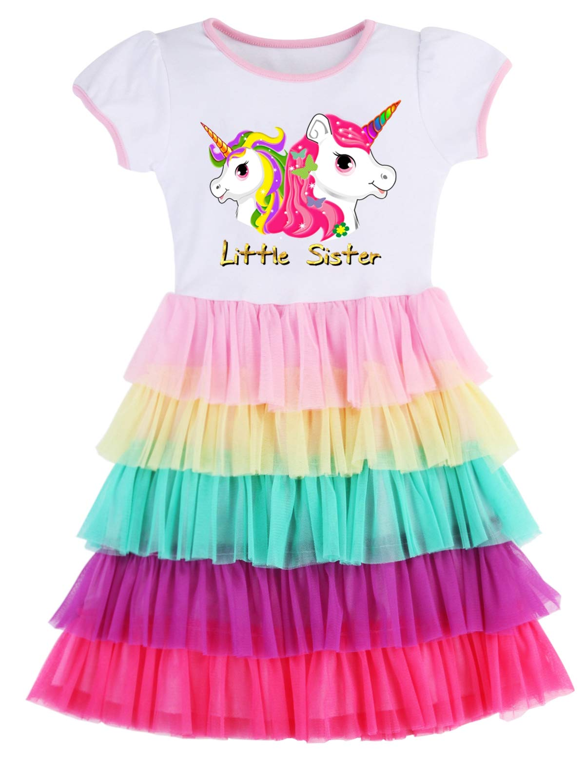 PrinceSasa Elegant Girls Clothes Unicorn Rainbow Party White Cupcake Short Sleeve Little Sister Spring Dress for Princess Toddler Birthday Outfits Dresses,5T04B,2-3 Years(Size 100)