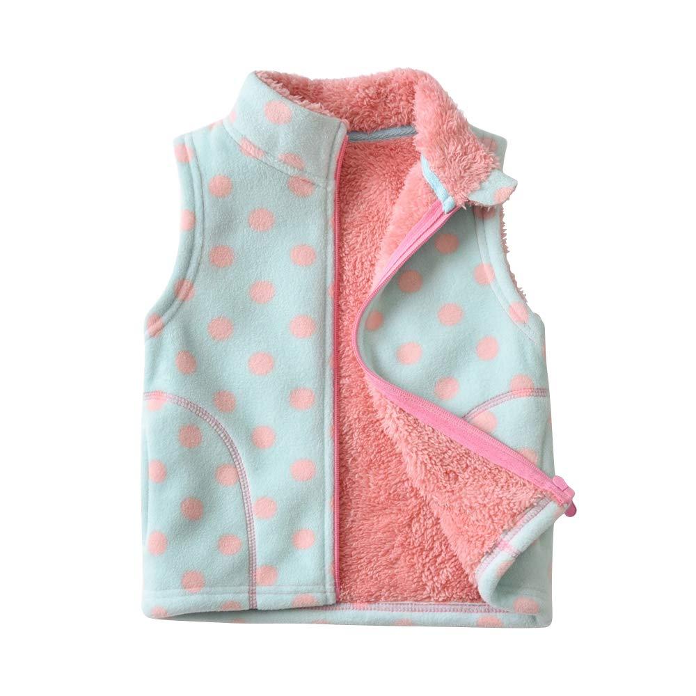 OCHENTA Boys' Soft Warm Zipper Fuzzy Polar Fleece Vest Polka Dot Tag 150-9-10Y